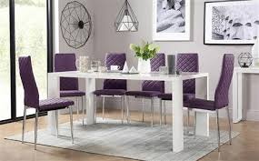eden 170cm white high gloss dining table with 4 renzo purple chairs