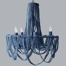 blue beaded chandelier 5 light