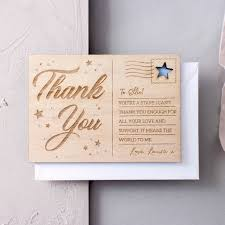 personalised thank you wooden post card thank you gifts