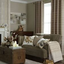 Wallpaper Living Room Designs Iliv Piazza Cerato Tartan Check Eyelet Curtains Charcoal Beige