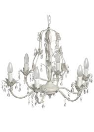 2002 antique white diamante crystal effect drop leaves metal chandelier ceiling light
