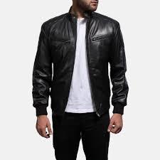 mens sven black leather er jacket 1