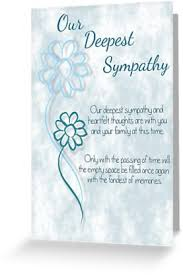 Condolenses Card Our Deepest Sympathy Blue Sketched Flowers With Sentiment Words Greeting Card By Samantha Harrison