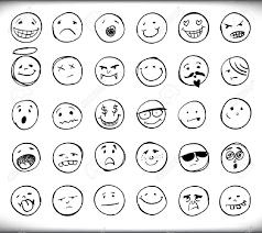 30 セット手描き下ろし絵文字や顔それぞれ異なる表情と感情白のスケッチの概要
