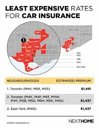 least expensive rates for car insurance map
