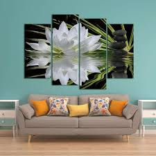 4 piece flower white lotus in black canvas wall art paintings it make your day on wall art 4 piece set with 4 piece flower white lotus in black canvas wall art paintings for