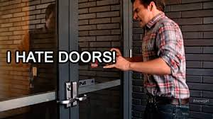 arrive at the door at the same time as someone going the other way it s easier for you to hold the door than it is for them so let them go first