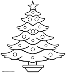 Simple Christmas Tree Coloring Pages Line Art Free Printable