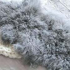 mongolian fur area rug lambskin throw sheepskin natural long hair cream white curly bedrooms ideas images