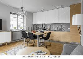 contemporary kitchen furniture detail. Contemporary Kitchen With Modern Furniture And Big Table Black Chairs Detail -