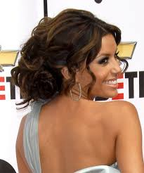 eva longoria parker updo long curly formal wedding updo dark brunette side on view