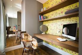 energizing home office decoration ideas. yellow wallpaper with floral pattern for the home workspace design domus nova energizing office decoration ideas a