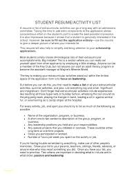 List Of Extracurricular Activities For Resume Inspirational Resume Extracurricular Activities Sample Resume 10