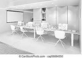white office interior. Contemporary Office White Office Interior With A Row Of Chairs Long Table And Computers   Csp56684350 And Office Interior R