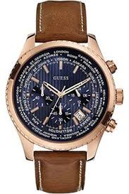 men s wrist watches guess mens u0716g1 classic silvertone watch guess men s chronograph honey brown leather strap watch watches jewelry watches macy s