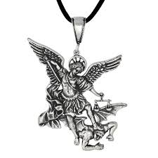 antique style saint michael archangel fighting a demon small in sterling silver loading zoom