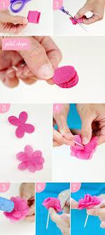 diy tissue paper flower steps diy cake crown and paper towel garland