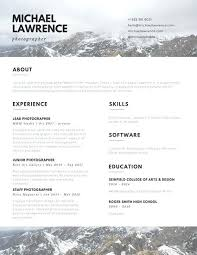 Photography Resume Template Brown And White Mountains Photographer ...