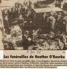 heather o rourke funeral photos. Contemporary Rourke A Ltima Imagem De Heather Ou0027Rourke Em Seu Funeral Throughout O Rourke Funeral Photos