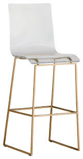 Gabby King Acrylic Bar Stool, Gold contemporary-bar-stools-and-counter