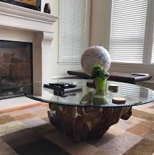 root round coffee table teak glass top 48 inch natural wood solid