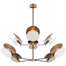 osiris large reflector chandelier in bronze and hand rubbed antique brass with linen diffuser
