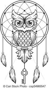 How To Draw A Dream Catcher Dreamcatcher black and white owl vector line illustration eps 35