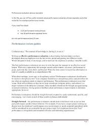 Work Performance Review Sample Appraisal Examples Self Evaluation ...