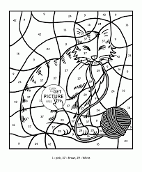 Small Picture Color by Number Cat coloring page for kids education coloring