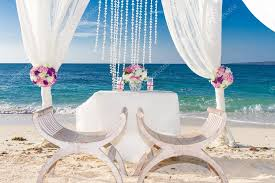 beach wedding set up tropical outdoor wedding reception beauti stock photo