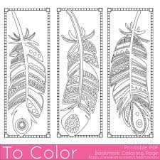 Printable Feathers Coloring Page Bookmarks For