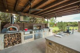 Backyard Garden Summer Kitchen With A Traditional Wood Stove And Appliances