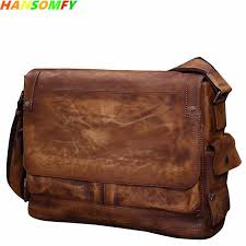 Retro vegetable tanned leather cowhide men's handbags male ...