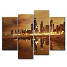 com canvas print wall art painting for home decor modern city chicago skyline united states city skyline skysers 4 pieces panel paintings modern