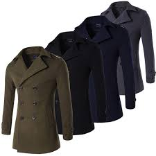 army green grey navy black male pea coat double ted military trench coat men peacoat winter long trenchcoat plus size 4xl wool blends
