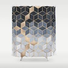 black and tan shower curtain. soft blue gradient cubes shower curtain black and tan e