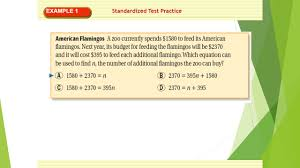 2 standardized test practice example 1