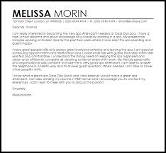 Spa Attendant Cover Letter Sample Cover Letter Templates Examples