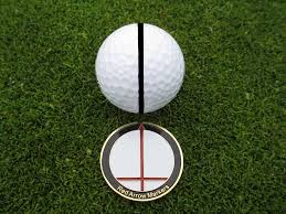 ball markers. with the ball in place, simply point red arrow towards path creating a visual line of reference. then view horizontal slope bar to help markers .