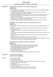 Sample Resume For Mutual Fund Operations Investment Management Compliance Resume Samples Velvet Jobs 1