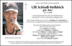 Traueranzeige Von Ulli Schindl Helldrich Vom 11042018