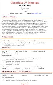 Nhs Resume Examples Geneticist Cv Template Tips And Download Cv Plaza