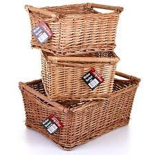 willow wicker storage basket her kitchen log gift xmas her basket handles