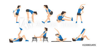workout set woman doing fitness and yoga exercises lunges and squats plank