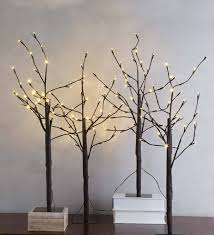 Outdoor Lighted Stick Trees Pre Lit Birch Twig Trees Set Of 4 Brown Plowhearth