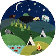 momeni lil mo whimsy camping fun blue 5 ft x 5 ft indoor kids