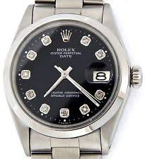 mens diamond rolex wristwatches mens rolex date stainless steel watch domed bezel black diamond dial oyster 1500