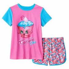 Shopkins Cupcake Chic Girls Pajamas Size Small 6 6x Shirt Top And
