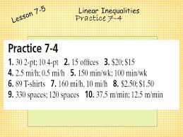 20 linear inequalities lesson 7 5 practice 7 4