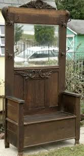 Antique Entryway Bench Coat Rack Antique Victorian Hall Tree Original Mirror Umbrella Stand Coat Rack 24